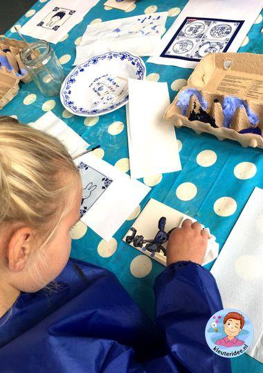 Delfts blauw, tegeltjes schilderen, thema Nederland, kleuteridee