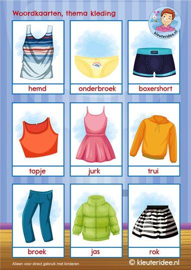 woordkaarten thema kleding1, kleuteridee