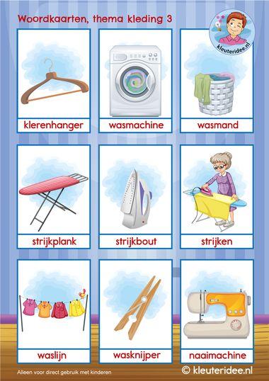 woordkaarten thema kleding 3 k, kleuteridee