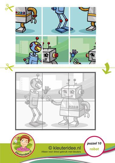 10. Puzzel robot, kleuteridee, thema techniek, Preschool robot puzzle, free printable