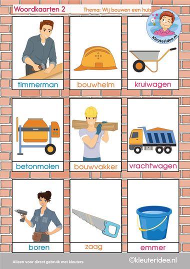 Woordkaarten 2, thema 'wij bouwen een huis', kleuteridee, free printable