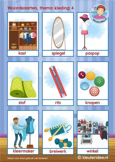 woordkaarten thema kleding 4 k, kleuteridee