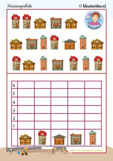 Eenvoudige grafiek voor kleuters, tel de huizen, kleuteridee.nl, Kindergarten math game, graphic, free printable