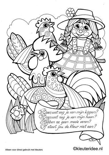Boer wat zeg je van mijn kippen , kleuteridee.nl ,kleurplaat liedjes voor kleuters