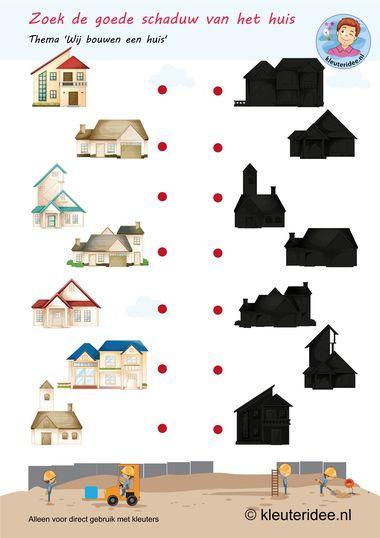 Zoek de goede schaduw bij het huis, thema huizen bouwen, kleuteridee, free printable