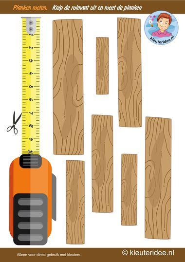 Planken meten, thema huizen bouwen, kleuteridee, Kindergarten measurement free printable