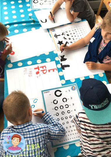 Oogtest maken met kleuters, kleuteridee, thema het oog, bril, Kindergarten eye theme glasses 4