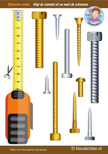 Schroeven meten, thema huizen bouwen, kleuteridee, Kindergarten measurement free printable