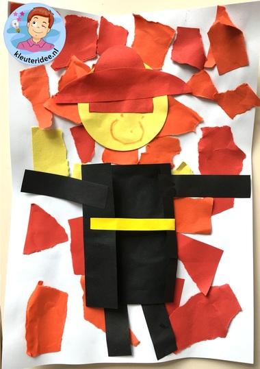 scheurwerkje brandweer, kleuteridee, kindergarten fire fighters craft