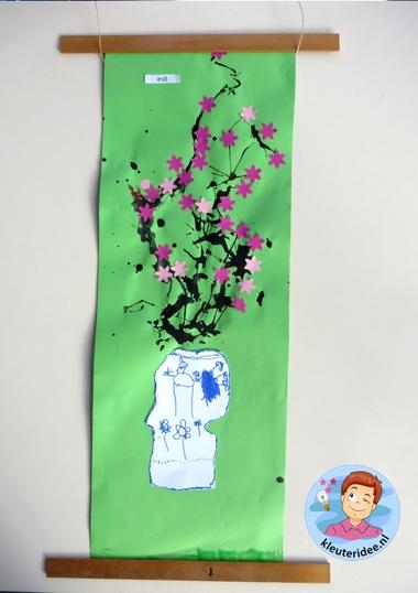 Chinees schilderij met kersenbloesem in Chinese vaas 2, thema China voor kleuters, kleuteridee.nl.jpg
