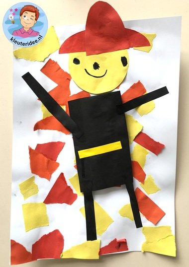 scheurwerkje brandweer, kleuteridee, kindergarten fir fighters craft 1