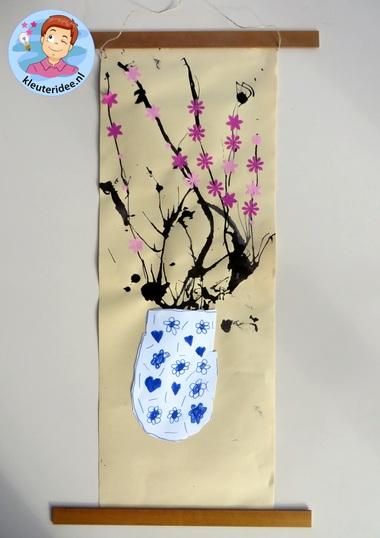 Chinees schilderij met kersenbloesem in Chinese vaas 3, thema China voor kleuters, kleuteridee