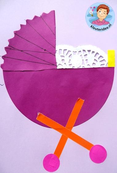 Kinderwagen van papier 2, thema baby voor kleuters, kleuteridee.nl, Kindergarten craft, pram paper craft