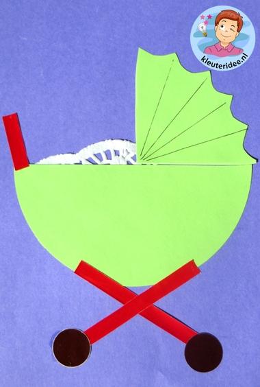 Kinderwagen van papier, thema baby voor kleuters, kleuteridee.nl, Kindergarten craft, pram paper craft