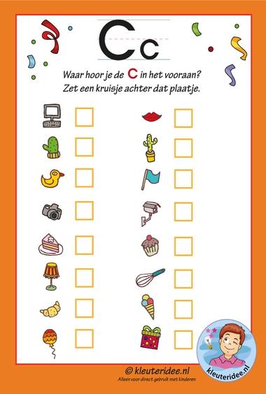 Pakket over de letter c blad 11, waar hoor je vooraan de c, letters aanbieden aan kleuters, kleuteridee.