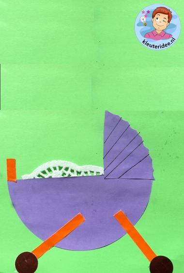 Kinderwagen van papier 3, thema baby voor kleuters, kleuteridee.nl, Kindergarten craft, pram paper craft