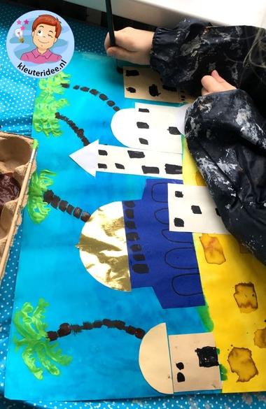 Jeruzalem collage knutselen, Kindergarten Jerusalem craft, kleuteridee 5