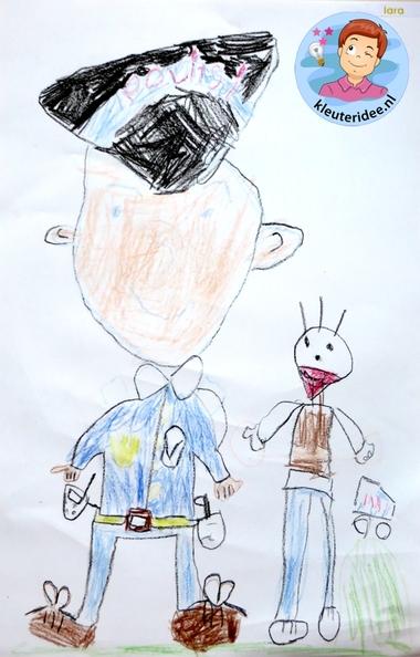 Politie tekenen, stap voor stap met kleuters, thema politie 4 , kleuteridee.nl, met gratis download, Kindergarten drawing policeman, Police theme