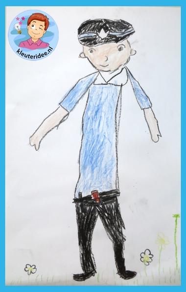 Politie tekenen, stap voor stap met kleuters, thema politie 2 , kleuteridee.nl, met gratis download, Kindergarten drawing policeman, Police theme.