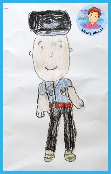 Politie tekenen, stap voor stap met kleuters, thema politie 3 , kleuteridee.nl, met gratis download, Kindergarten drawing policeman, Police theme.