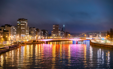 The lights and river of Liege at night