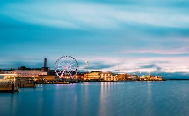 Helsinki nighttime view with the ferris wheel