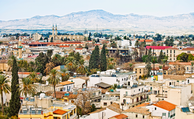 View of Nicosia, with the Turkish side of Cyprus in background.