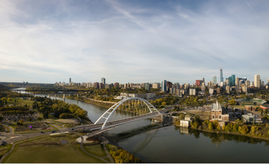Aerial view of Edmonton on a sunny day