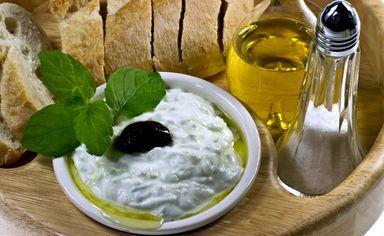 Tzatziki served with crusty bread
