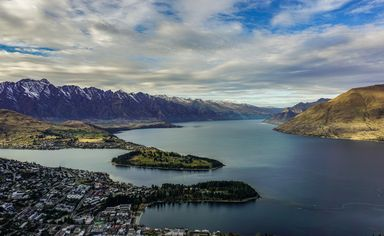 Looking down at Queenstown from the top of the gondola
