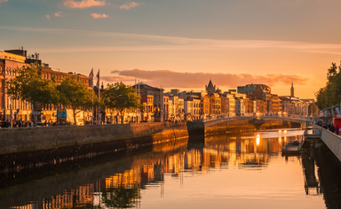 Dublin city centre at sunset