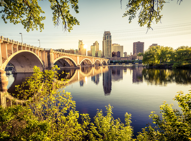The Mississippi River and the  Central Avenue Bridge in Minneapolis.