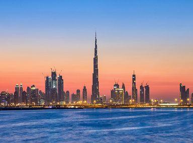 The Dubai skyline over the Dubai Creek
