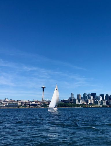 Seattle cityscape with boat on the water