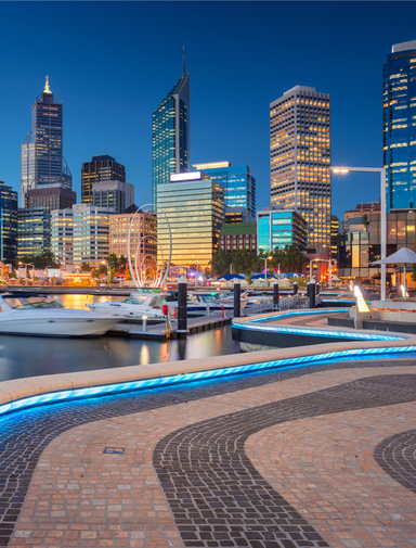 Cityscape image of Perth downtown skyline, Australia during sunset.