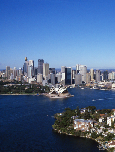 An aerial view of Sydney