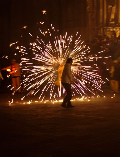 Fireworks during the Feste de Santa Eulalia