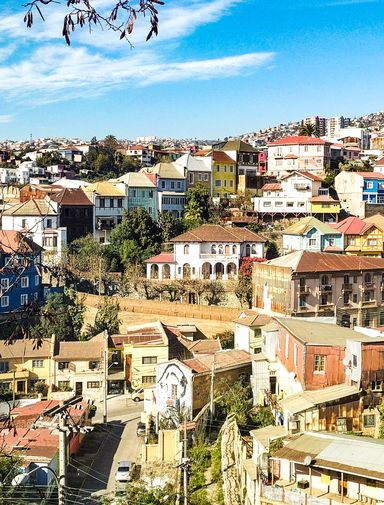 Houses on the hillside in Valparaiso, Chile