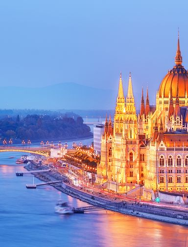 Parliament on the shores of the Danube River in Budapest