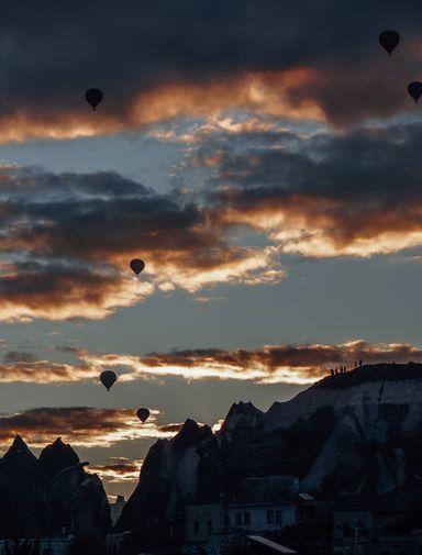 Balloons over Cappadocia at sunrise