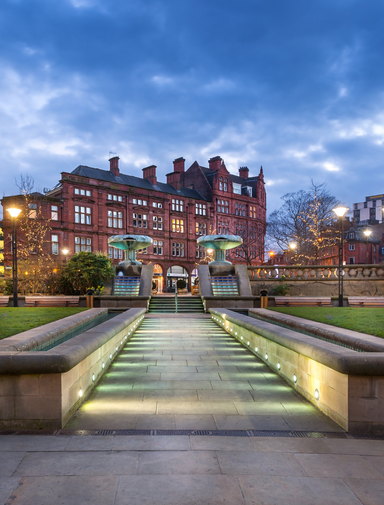Peace Gardens in the city centre of Sheffield, England.
