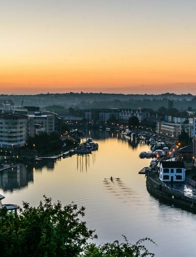 Bristol harbourside at sunrise