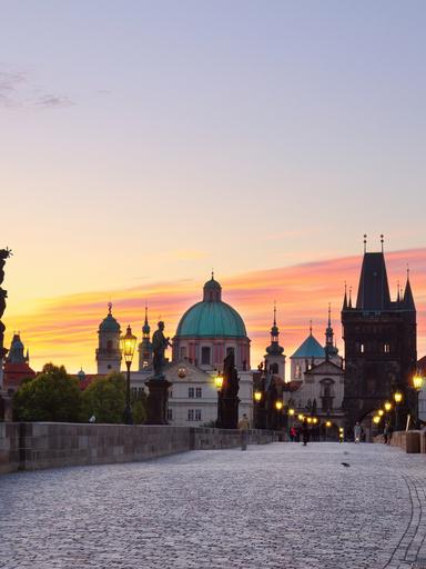 Charles bridge at sunset, Prague, Czech Republic  Keywords