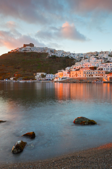 Chora village and the old harbour of Astypalea island in Greece
