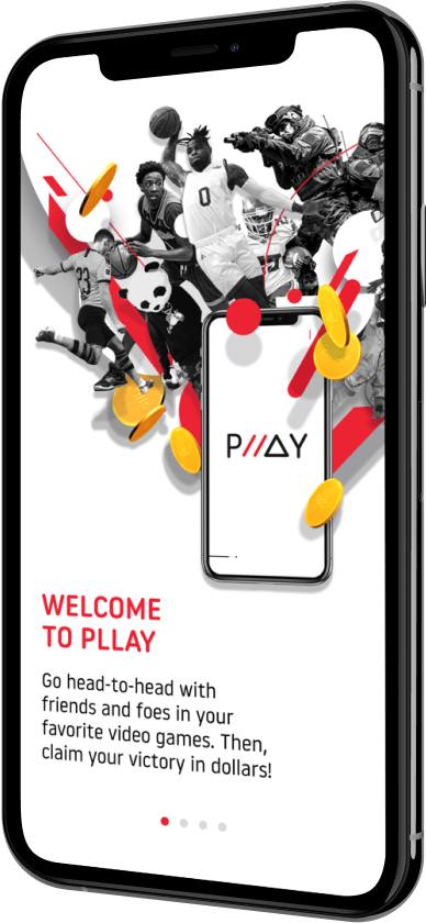 Phone showing the welcome screen on the PLLAY app