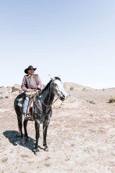 Western man on a horse