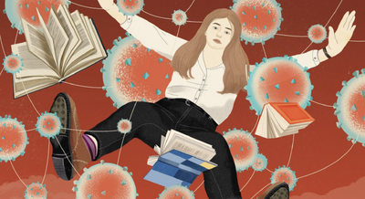 Illustration of girl falling with books and virus illustrations in the back