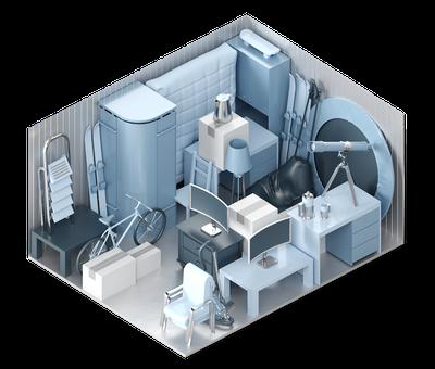 3D-Darstellung der Lagerraum-Größe XL