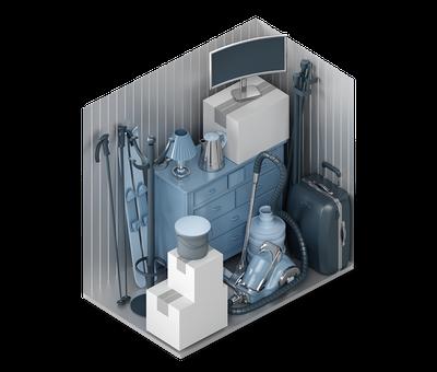 3D-Darstellung der Lagerraum-Größe XS