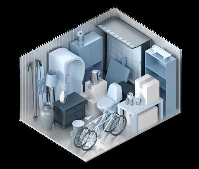 3D-Darstellung der Lagerraum-Größe L